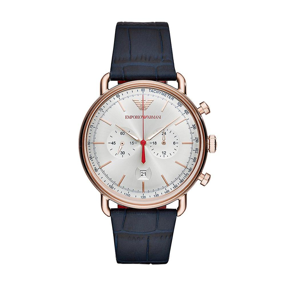 Emporio Armani Ar11123 Silver Dial Blue Leather Strap Men's Watch