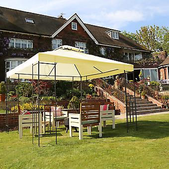 Charles Bentley 3Mx3M Stahl Kunst Outdoor Gazebo Luxus Metall Rahmen Marquee Creme