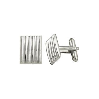 Eternal Collection Classico Striped Silver Tone Oblong Cufflinks