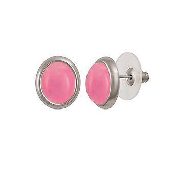 Piercing de eterna coleção minueto rosa quartzo Stud Tom de prata brincos