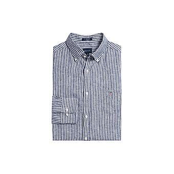 Gant pellava pankkiiri normaali istuvuus painike alas kaulus paita Persian sininen