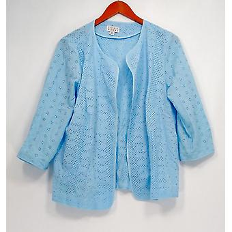 Joan Rivers Classics Coll. Plus Blazer Pattern Eyelet Kurtka blue A291168