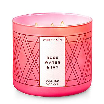 Bath & Body Works White Barn Rose Water & Ivy Scented Candle 14.5 oz / 411 g