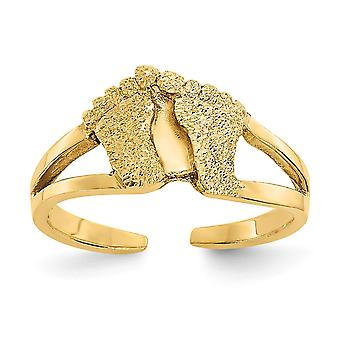 14k Yellow Gold Sparkle-Cut and Sand Blasted Foot Print Toe Ring