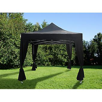 Gazebo pieghevole FleXtents Steel 3x3m Nero, incl. 4 tendaggi decorativi