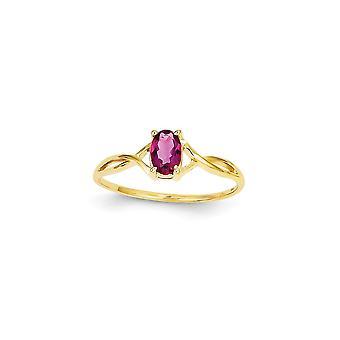 14k Ouro Amarelo Polido Anel rosa tourmalina tamanho 6 joias para mulheres