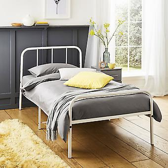 Extra Strong Single Metal Bed Frame with Rounded Head and Foot Board In White