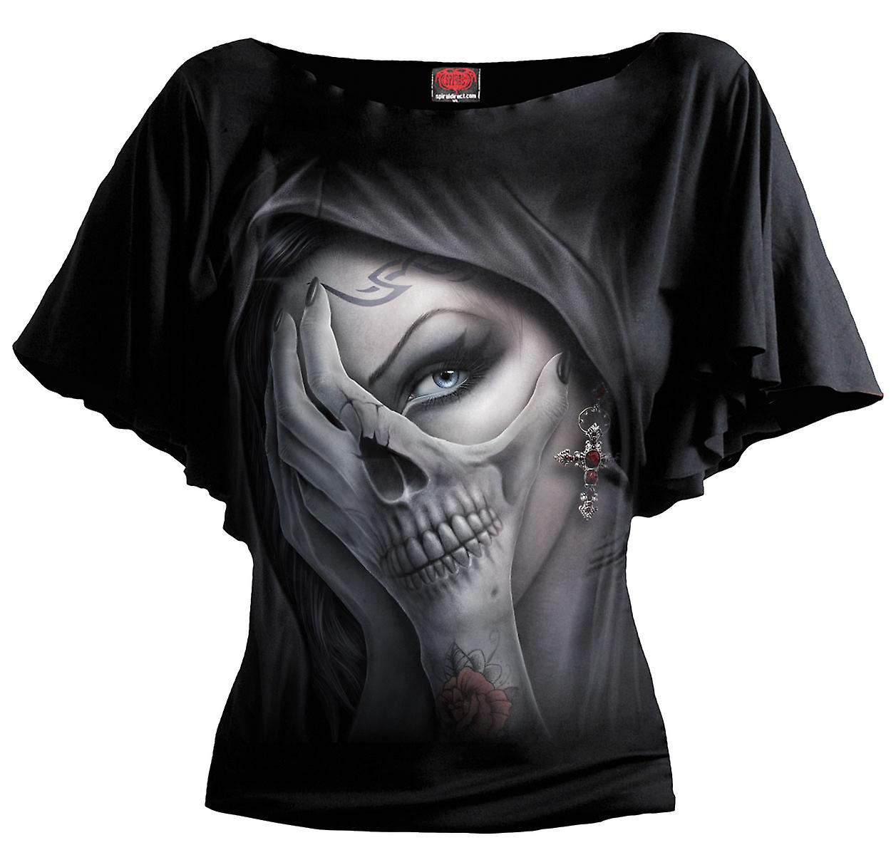 Spiral Direct Gothic DEAD HAND - Boat Neck Bat Sleeve Top Black|Skulls|Vixen|Cross|Gothic