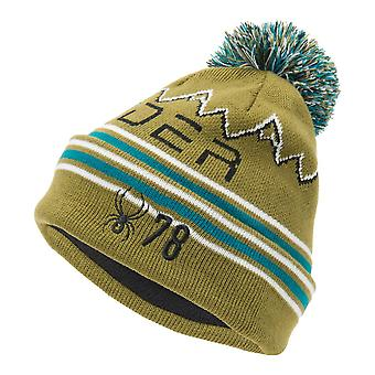 Spyder ICEBOX Kids Knit Bommel Winter Ski Hat Olive