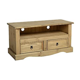 Corona 2 Drawer Flat Screen Tv Unit Distressed Waxed Pine