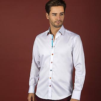 Claudio Lugli Plain Mens Shirt With Abstract Painting Insert