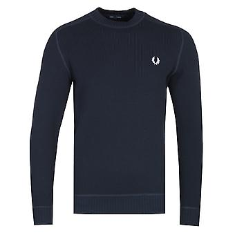 Fred Perry Waffle Textured Navy Crew Neck Sweater