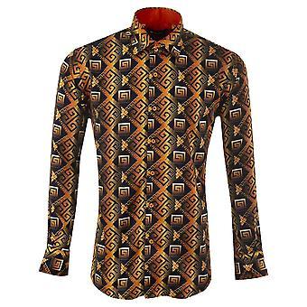 Oscar Banks Mosaic Patterned Mens Shirt
