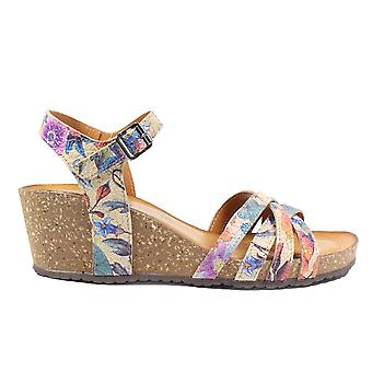 Tamaris 28342 Beige Leather Floral Leather Womens Wedge Sandals