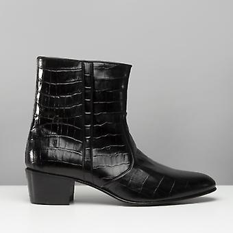 Club Cubano Valentino Mens Leather Croc Pattern Cuban Heel Zip Boots Black