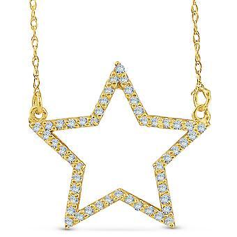 14k Yellow Gold 1/4Ct Diamond Star Pendant Necklace
