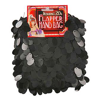 Charleston Flapper Gatsby 1920s Black Sequin Women Costume Hand Bag
