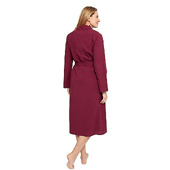 Cyberjammies 1352 Women's Nora Rose Lydia Burgundy Red Jacquard Print Cotton Long Robe