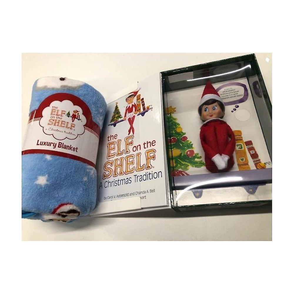 Elf On The Shelf Bundle - Blue Eyed Girl Elf & Book With Blanket