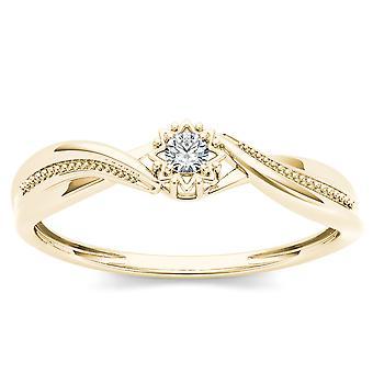 IGI certifié 10 k Ct 0,05 or jaune diamant naturel Engagement bague de fantaisie