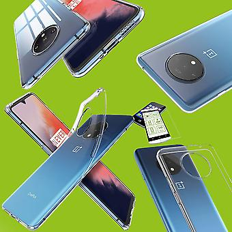 For OnePlus 7T Silicone Case TPU Transparent + 0.26 H9 Glass Case Cover Cover