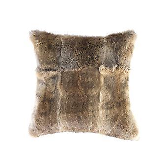 "5"" x 18"" x 18"" 100% Natural Rabbit Fur Hazelnut Pillow"