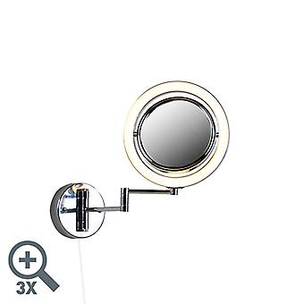 QAZQA Runde Make-up Wandspiegel Chrom Zugkabelschalter x3 - Vicino
