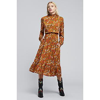 Louche Lois Posy High Neck Floral Ruched Waist Dress Mustard