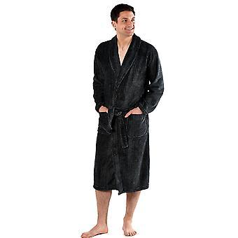 Mens Harvey James Classic Warme Visgraat Fleece Nachtkleding Badjas Badjas Badjas Jurk 9775