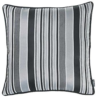 Gray and Black Variegated Stripe Decorative Throw Pillow Cover