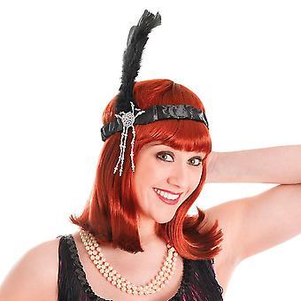 Bristol Novelty Flapper Headpiece Black Feathers