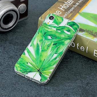 For iPhone XR Case Green Leaf Pattern TPU Protective Back Cover,Impact-proof