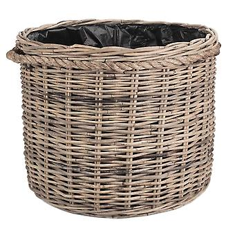 Large Rope Handled Rattan Round Planter with Plastic Lining
