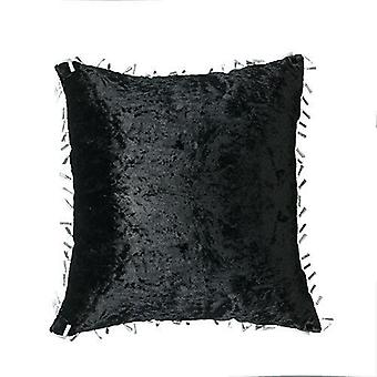 Ebony Crushed Velvet Cushions 18-quot; 45cm Ready Filled Cover with Pad Scatter Sofa