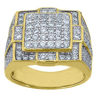 Yellow tone 925 Sterling Silver Mens Round CZ Cubic Zirconia Simulated Diamond Cluster Band Fashion Ring Jewelry Gifts f
