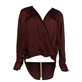 Lisa Rinna collectie vrouwen ' s top cross-over V-hals blouse rood A344801