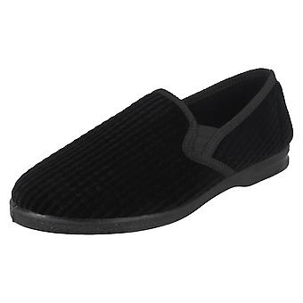 Mens Spot On X2012 Elasticated House Slippers Black UK 11, EU 45