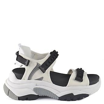Ash ADAPT Trainer Sandals White Satin & Black Leather