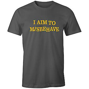 Boys Crew Neck Tee Short Sleeve Men's T Shirt- I Aim To Misbehave