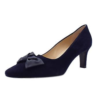 Peter Kaiser Mallory 1 Mid Heel Pointed Toe Court Shoes In Notte Suede