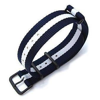 Strapcode n.a.t.o حزام ووتش miltat 20mm g10 العسكرية حزام حزام النايلون الباليستية الذراع، pvd - الأزرق والأبيض