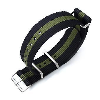 Strapcode n.a.t.o miltat 20mm, 21mm o 22mm g10 n.a.t.o cinturino militare cinturino in nylon balistico, spazzolato - nero & verde militare 0 (0 recensioni)