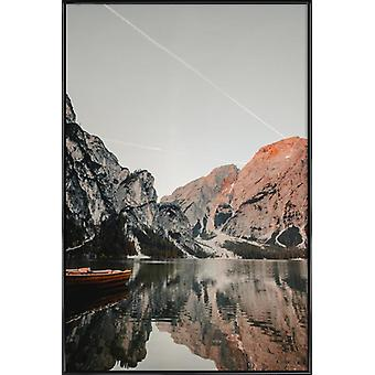 JUNIQE Print - Reflections - Mountains Poster in Brown & Grey