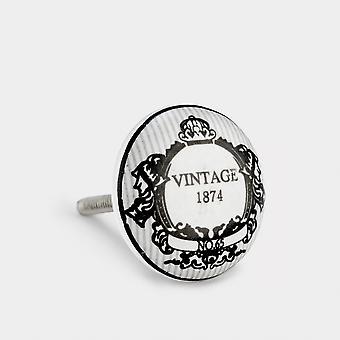 Perilla de puerta de cerámica - gris / negro - Vintage 1874