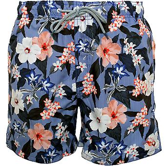 Ted Baker Floral Print Striped Swim Shorts, Blue/multi