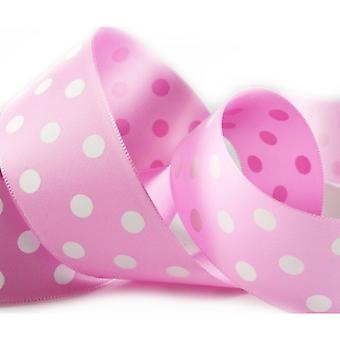 20m Pale Pink 38mm Wide Polka Dot Satin Ribbon for Crafts