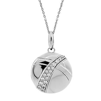 ORPHELIA CHAIN WITH PENDANT BIG CIRCLE 925 SILVER WITH ZIRCONIUM