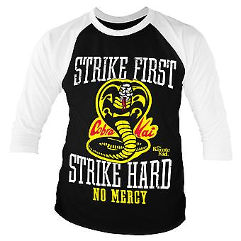 Karate Kid Baseball T Shirt Cobra Kai No Mercy Official Mens Black 3/4 Sleeve