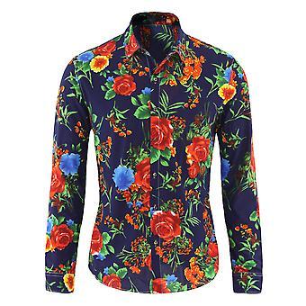 Allthemen Men's Floral Loose Casual Thin Long Sleeves Shirt