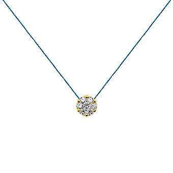 Choker Flower Cluster 18K Goud en Diamanten, op Thread - Geel Goud, Turquoise